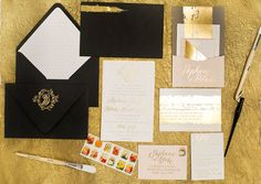 Oh So Beautiful Paper: Stephanie + Blake's Painterly Gold Foil Wedding Invitations