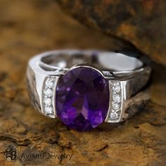 Amethyst and Diamond Ring, Amethyst Ring, Engagement Ring, Bezel Set Ring  | LDR01438 on Etsy