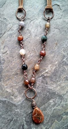 Natural Stone Leather and Copper Necklace by BossyBeads on Etsy Copper Necklace, Copper Jewelry, Boho Necklace, Leather Jewelry, Stone Jewelry, Fall Jewelry, Boho Jewelry, Beaded Jewelry, Handmade Jewelry