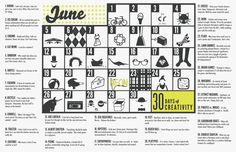 Set the calendar as your desktop to inspire you throughout the month of June! #30daysofcreativity