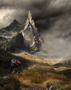 Toward the dream of climbing. This mountain, the Dibona peak located in the French Alps, makes many climbers dream. This is a photo that I dreamed of making for many years. I could finally do this last month. (by:   Daniel Metz)