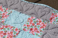 new baby quilt - light pink, turquoise and grey - longarm quilted with hearts Quilt Baby, Patchwork Quilting, Pink Turquoise, Diaper Bag, New Baby Products, Hearts, Blanket, Grey, Bags