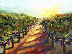 Grape Vineyards Painting - Sunrise In Napa by Jen Norton
