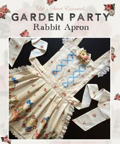 Handmade country lolita apron inspired by summer garden parties featuring a Japanese rabbit print fabric