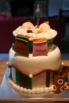 baby shower cakes, twin stuff, shower idea, twin babies, babi shower, baby showers