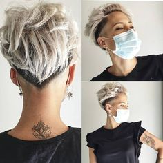Short Hairstyles For Women, Hairstyles Haircuts, Undercut Hairstyles Women, Short Hair Cuts For Women Edgy, Edgy Pixie Haircuts, Short Shaved Hairstyles, Wedding Hairstyles, Cheveux Courts Funky, Super Short Hair