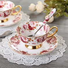 Bone China Coffee Cup with Saucer and spoon, Environment,good choice for gift with free gift box. Afternoon Tea Parties, Ceramic Coffee Cups, Bone China Tea Cups, Tea Art, Rose Tea, My Cup Of Tea, Tea Cup Saucer, Tea Time, Pottery