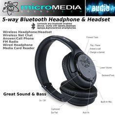 Bluetooth Stereo Headphone Headset Stereo connect BT Phone Pad FM Radio MP3 Play #MicroMediaSoundTECH
