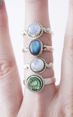 ➳Abalone Shell 925 Ring ➳ boholake // mystic // rings // jewellery // jewelry // sterling silver // boho // bohemian // jewels // hippie // gypsy // Rainbow Moonstone // Labradorite www.boholake.co.uk