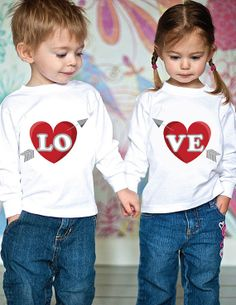 VALENTINE SIBLING SHIRTS Set of 2 for Brothers Sisters Cousins or Friends, Long Sleeve Heart with Arrow.. For Owen & Evy