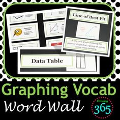 Keep your students engaged by making your word wall interactive. Make your word wall come alive with our Graphing Vocabulary Interactive Word Wall.  This colorful, visual word wall will liven up the decor of any classroom.   Included in this Graphing Vocabulary Interactive Word Wall Product: 12 vocabulary terms necessary for students to draw & understand graphsVisual vocab cards that include a picture, term, & working definition for a static word wallIndividual cards with the terms on...