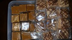 Fudge and Rice Bubble Squares ready to go into the Christmas mugs