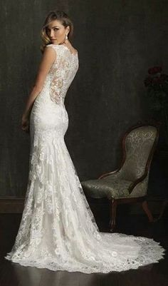 i like an ornate back because that is what people will see:) lace wedding dress.