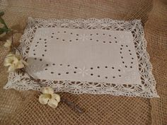 Antique Victorian White Linen Small Tray by TheRiversEdgeVintage