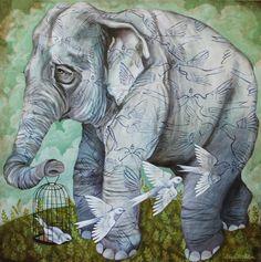 Elephant and Birds art print
