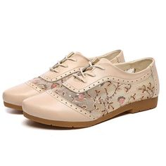c4115692279 Leather Brogue Lace Breathable Retro Soft Flat Casual Shoes