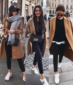 Camel coat and sneakers - Moda Femminile Casual Winter Outfits, Winter Fashion Outfits, Look Fashion, Trendy Outfits, Fall Outfits, Womens Fashion, Fashion Dresses, Classic Fashion Outfits, Cold Day Outfits