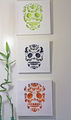 Day Of the Dead Skull Cut Paper Wall Art Green by hvansick on Etsy