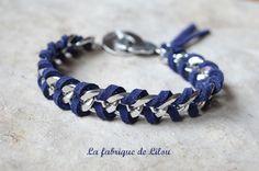 Bracelet gourmette argentée et suédine bleue