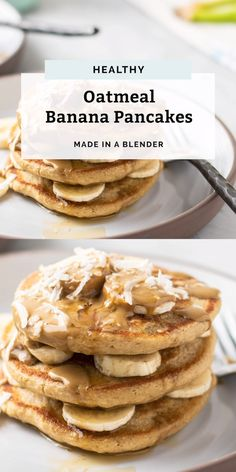The perfect easy blender pancake recipe! These Oatmeal Banana Pancakes are made with oats, bananas, unsweetened non-dairy milk and no added sugar. Gluten-free friendly and you can even sub flaxseed me Pancakes Oatmeal, Oat Muffins, Blueberry Banana Pancakes, Banana Pancakes No Flour, Healthy Banana Pancakes, Health Pancakes, Egg White Pancakes, Coconut Milk Pancakes, Low Calorie Pancakes