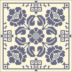 Floral tile - Chart for cross stitch or filet crochet.