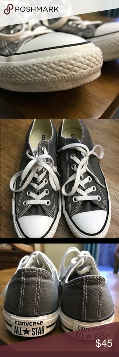 Authentic Converse Low Top Sneakers Purchased at Dillard's and worn 3 times ✨like new✨ Size 8.5 women, 6.5 men. Dark grey canvas. Converse Shoes Sneakers