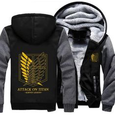 bab1e3248 Attack On Titan Shingeki No Kyojin Yellow Recon Corps Grey Black Hoode   anime  hooded