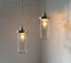Stargaze - Set of 2 hanging Mason jar pendant lights - rustic modern country lighting fixtures - upcycled BootsNGus lamp design $65