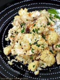 Couscous-Pfanne mit geröstetem Blumenkohl und Hähnchenbrust