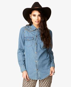 $29, Blue Denim Shirt: Forever 21 Spiked Studded Chambray Shirt. Sold by Forever 21. Click for more info: http://lookastic.com/women/shop_items/36002/redirect