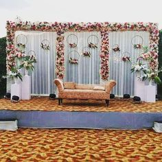 Searching for professional wedding service providers. Reception Stage Decor, Wedding Stage Backdrop, Wedding Backdrop Design, Desi Wedding Decor, Wedding Stage Design, Indian Wedding Stage, Simple Stage Decorations, Engagement Stage Decoration, Wedding Stage Decorations