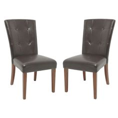 Marshall Tufted Parsons Chair Chocolate. $144 Joss & Main Inspired Living. Tufted bonded leather Parsons chair.   Product: ChairConstruction Material: LeatherColor: Dark c...