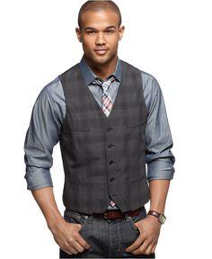 Alfani Vest, Slim Fit Double Layer Plaid Vest - Mens Men's Vests - Macy's