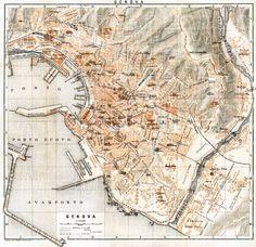 Old Map of Genova Genes Genoa City Plan Italia 1836 Antique