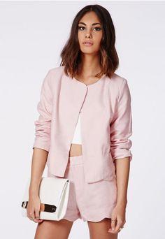 Gianna Textured Scallop Blazer Pink - Blazers - Missguided