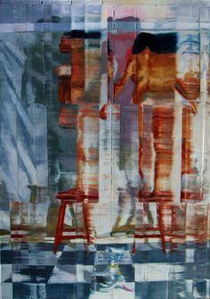 Dois nus femininos em pé sobre bancos. óleo sobre tela.. 92cmx 65cm. Taigo Meireles.2011