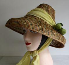 Unusual Caribbean Sun Hat, Handwoven, Multicolored Paper Straw, Excellent Condition