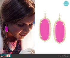 Mindy's pink earrings on The Mindy Project.  Outfit Details: https://wornontv.net/60857/ #TheMindyProject