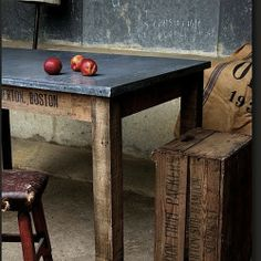 DIY - ZINK TOP TABLES - I have always loved zink topped counters and tables.