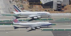 """""""One in a Million Shot' Air France Airbus A380-800 taxiing next to China Airlines B747-400 at LAX. Taken from a R-22 without doors :-)) at about 900ft."""