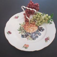 Black Grapes, Green Grapes, Bubble Paper, Glass Tea Cups, Shredded Paper, Serving Plates, Vintage China, Tea Cup Saucer, Purple And Black