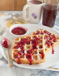 Twist on the glorious Monte Cristo sandwich - in waffle form with chopped ham, cheese & easy raspberry jam sauce