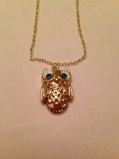Blue Eyed Owl Pendant Necklace Amazonite Rhinestone by QuinnsBin, $16.00