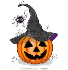 Stock Vector: Jack OLantern with spider Cartoon Illustration isolated on a white background Halloween Drawings, Halloween Painting, Halloween Prints, Halloween Patterns, Halloween Pictures, Halloween Art, Free Halloween Coloring Pages, Witch Coloring Pages, Spider Cartoon