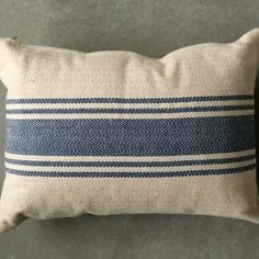 Cotton Canvas Pillow With Blue Stripes