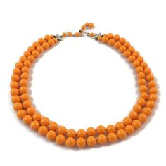 Tangerine Glass Beaded Necklace Two Strand Mid Century MCM JAPAN Orange  Neon Retro Mad Men Hook 1d72df26e19