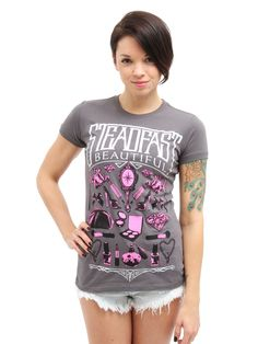 "Women's ""Steadfast Beautiful"" Tee by Steadfast Brand in Charcoal at the Inked Shop."