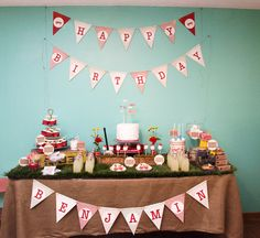 """via blog.amyatlas.com styled by One Stone Events. MUST SEE """"Vintage Red Wagon"""" Party. Too many cute things to pin."""