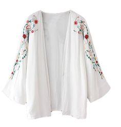 Encuentra el mejor  2016 bordado de la flor de las nuevas mujeres del verano kimono blanco rebeca del poncho del cabo del mantón túnica de la blusa cubre sube tops, a precio al por mayor del proveedor capa y poncho chino - bechoice en es.dhgate.com.