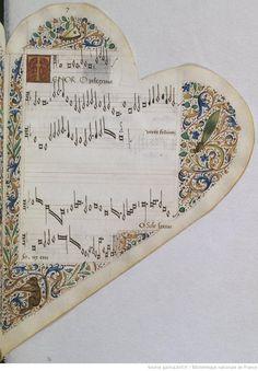16th century Book of Songs - insect page  RECUEIL de Chansons italiennes et françaises. Ms. sur vélin de 72 f., en forme de cœur (fin du XVe siècle), velours rouge, tr. dor. miniatures et encadrements.